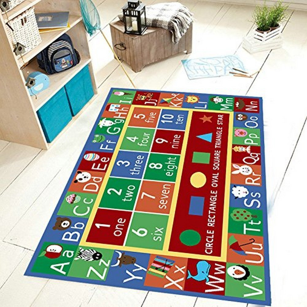 Maple Home Kids Rug Abc Alphabet Numbers And Shapes Educational Area R