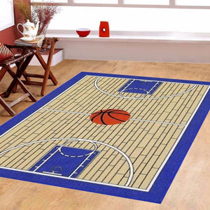 Maple Home 695 Basketball Court Kids Area Rug Blue