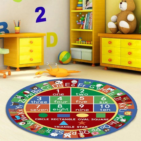 Maple Home Kids Rug ABC Alphabet Numbers And Shapes Educational Area Rug Area Rug Non Skid Backing Multicolor