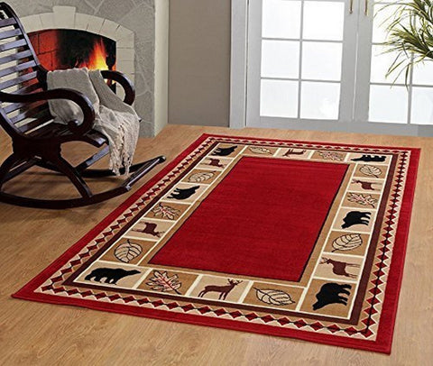 Maple Home 3 Piece Wildlife Bear Moose Rustic Lodge Cabin Carpet Dark Red Area Rug 3PC Set