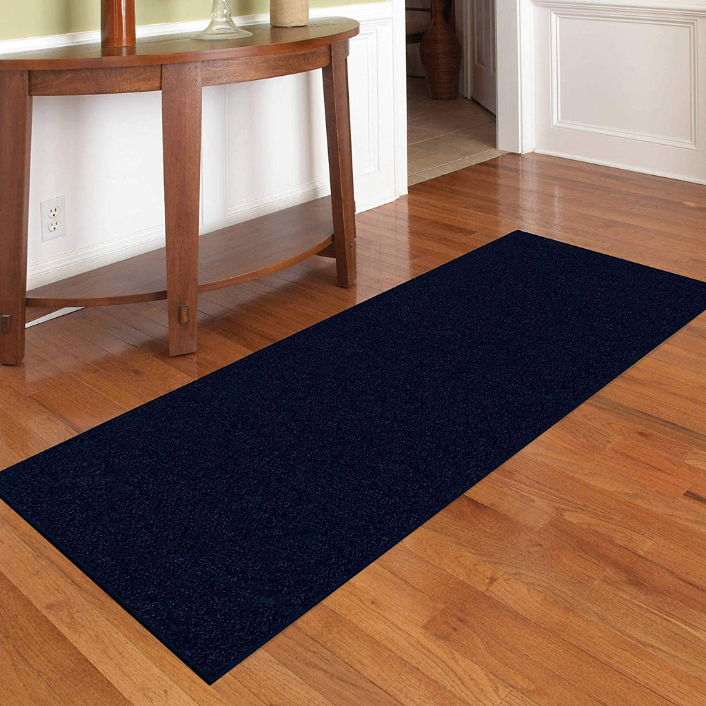 Solid Navy Color Custom Size Runner Area Rug - 2' Width