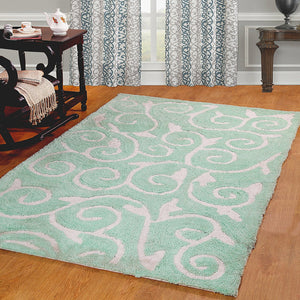 Scroll Design Soft Cozy Shag Rug