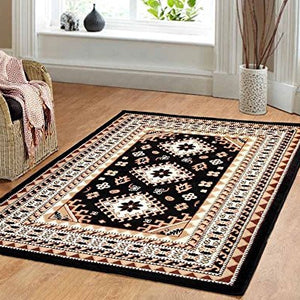 Traditional Maharaja Area Rug Black