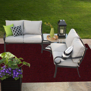 Indoor Outdoor Commercial Rugs - Burgundy