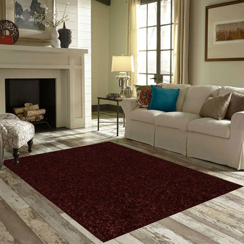 Solid Color Area Rug Hexagon-Chocolate