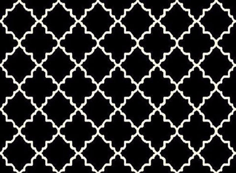 Geometric Contemporary Trellis Area Rug Black - 4