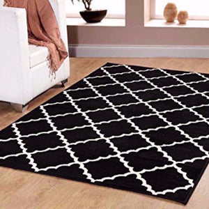 Geometric Contemporary Trellis Area Rug Black