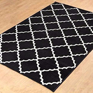 Geometric Contemporary Trellis Area Rug Black - 1