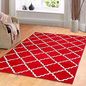 Geometric Trellis Area Rug Red
