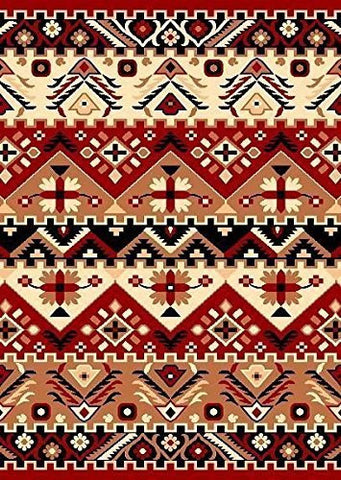 Southwestern Geometric Rustic Area Rug Red - 3