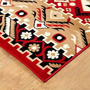 Southwestern Geometric Rustic Area Rug Red - 1