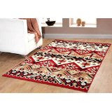 Southwestern Geometric Rustic Area Rug Red