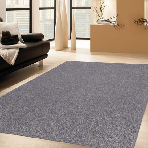 Solid Color Area Rug Round-Grey