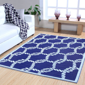 Maple Home Patio Patterned Octavius Outdoor Area Rug - Blue