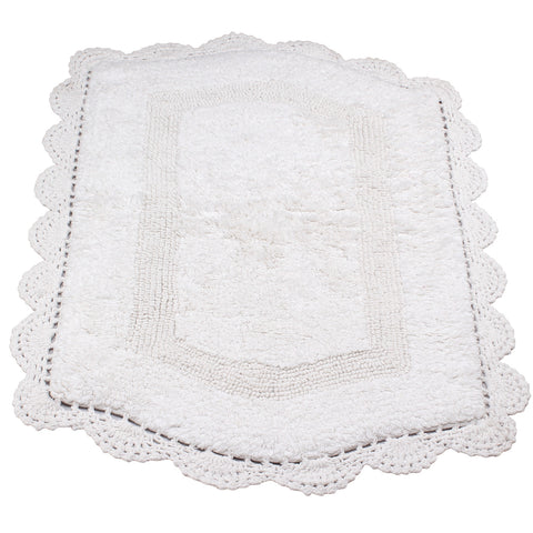 Abby White Soft Cotton Bath Mat -5