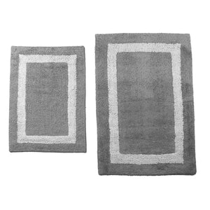 Plush Track White Bathroom Mat- 2