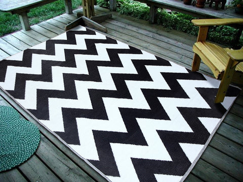 Maple Home Patio Patterned Octavius Outdoor Area Rug - Black