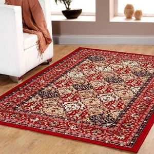 Traditional Persian Style Maharaja Area Rug Red