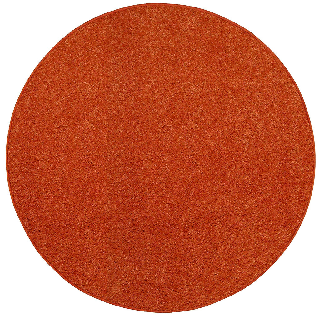 Solid Color Area Rug Round-Orange