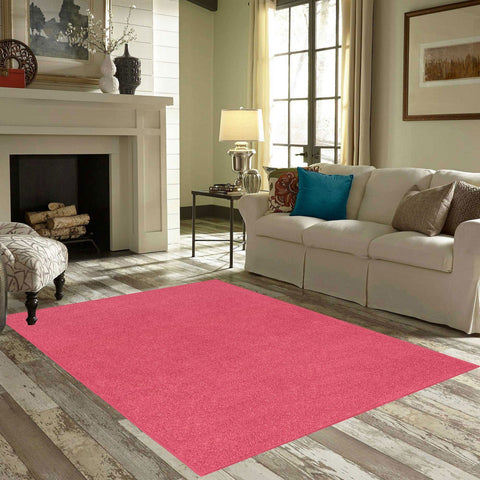 Solid Color Area Rug Round-Pink