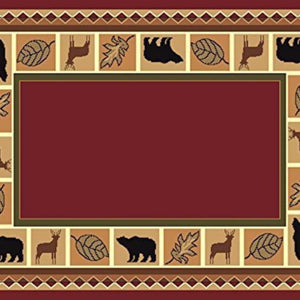 Rustic Lodge Wildlife Bear Moose Area Rug Red