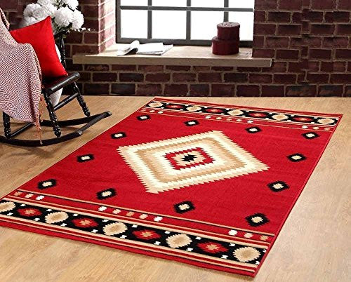 Southwestern Rustic Lodge Area Rug Red