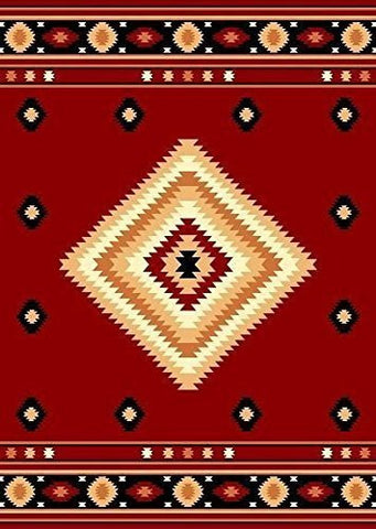 Southwestern Rustic Lodge Area Rug Red - 4