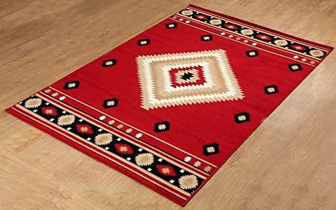 Southwestern Rustic Lodge Area Rug Red - 1