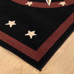 Western Star Rustic Cowboy Area Rug Brown Black - 1