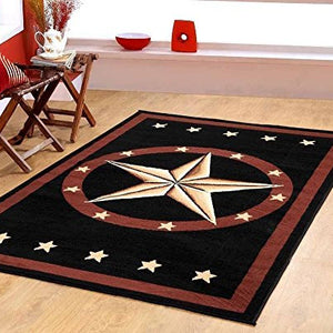 Western Star Rustic Cowboy Area Rug Brown Black