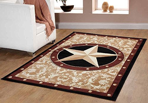 Western Star Cowboy Area Rug - Gold Brown Black