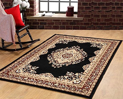 Oriental Medallion Maharaja Carpet Black