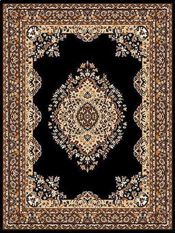 Oriental Medallion Maharaja Carpet Black - 4