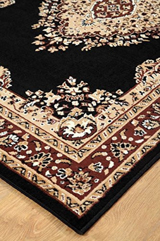 Oriental Medallion Maharaja Carpet Black - 2
