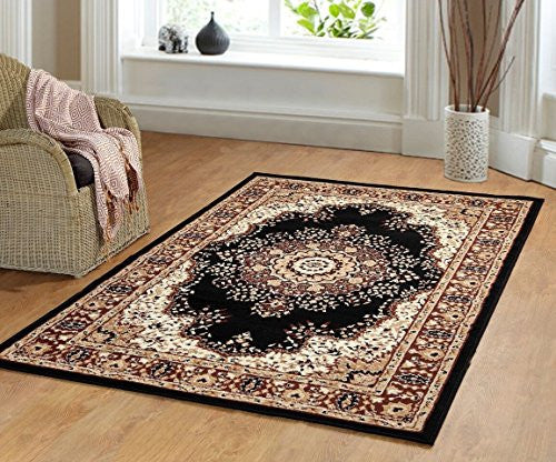 Persian Style Traditional Medallion Area Rug Black