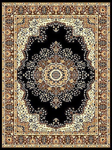 Persian Style Traditional Medallion Area Rug Black -4