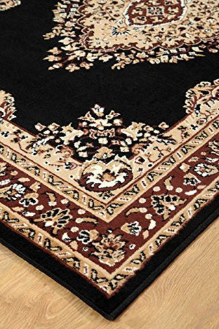 Persian Style Traditional Medallion Area Rug Black - 2