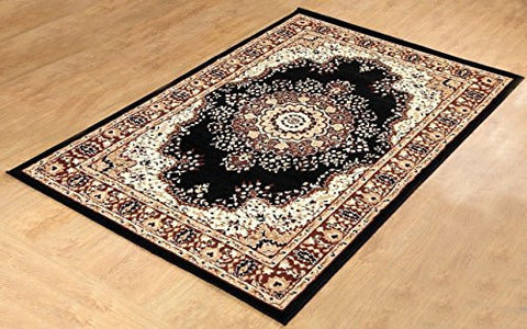 Persian Style Traditional Medallion Area Rug Black - 1
