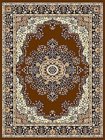 Oriental Medallion Persian Style Carpet Brown - 4