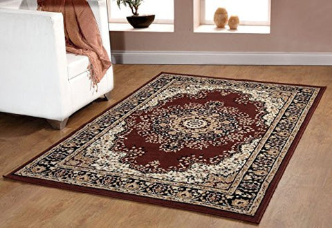 Oriental Medallion Persian Style Carpet Brown
