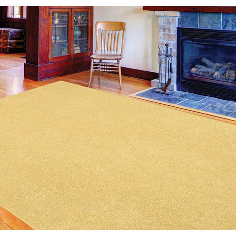Solid Color Area Rug Round-Yellow