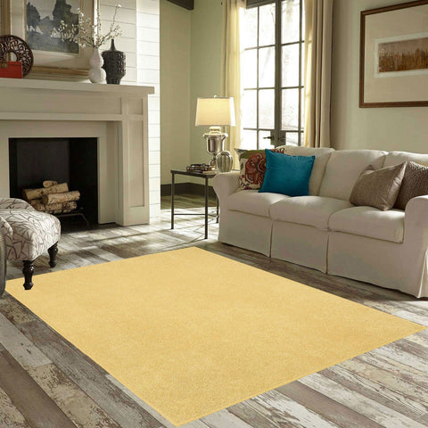 Solid Color Area Rug Halfround-Yellow