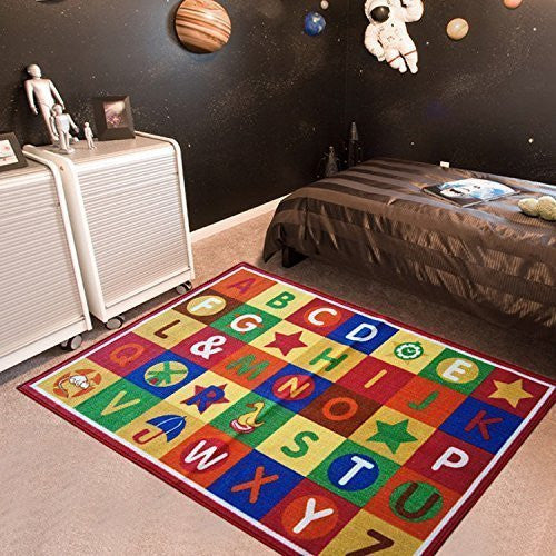 Alphabet MultiColor Boxes Area Rugs Actual 3.3x5 For Kids
