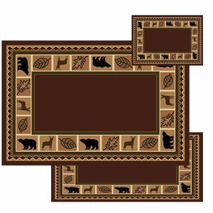 Oriental Geometric Bear Moose Rug Brown