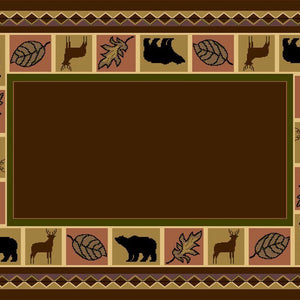 Wildlife Bear Moose Rustic Area Rug Brown