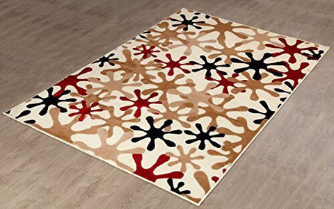 Multi Colour Splash Design Modern Contemporary Area Rug 645 Ivory FURNISHMYPLACE