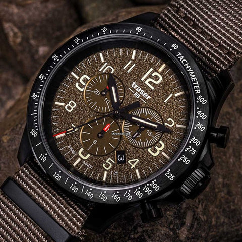 P67 Officer Pro Chronograph, Khaki DIal and Strap, 109459
