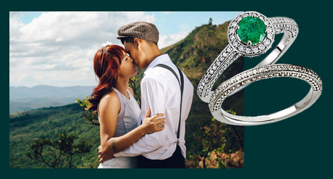 Genuine Emerald and Diamond Wedding Set