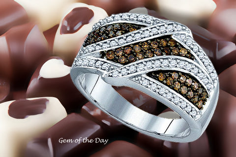 White and Dark Chocolate Diamond Ring