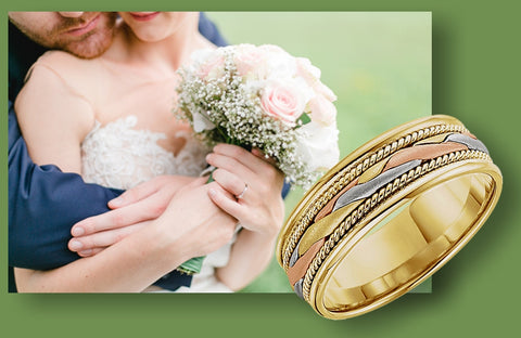 14k Tri-Color Hand Woven Wedding Ring, A-11-51297